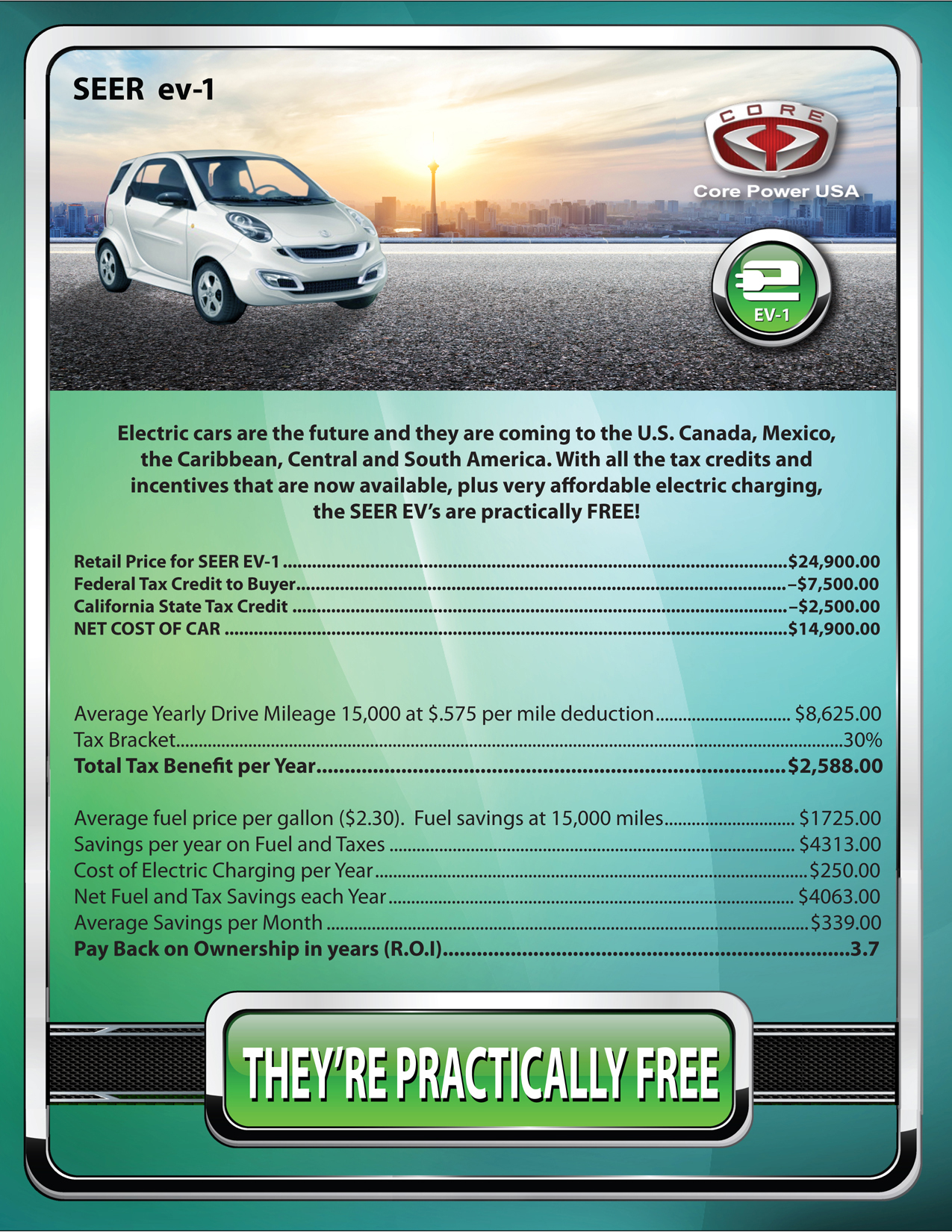 Core Power USA EV-1 Incentives