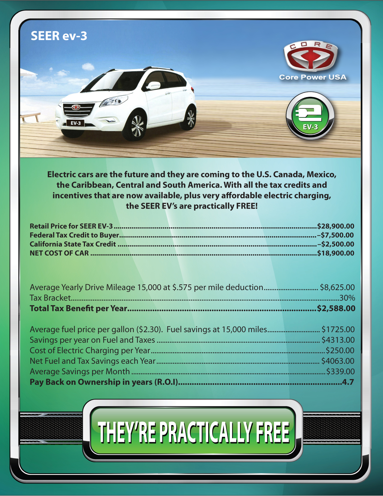 Core Power USA EV-3 Incentives